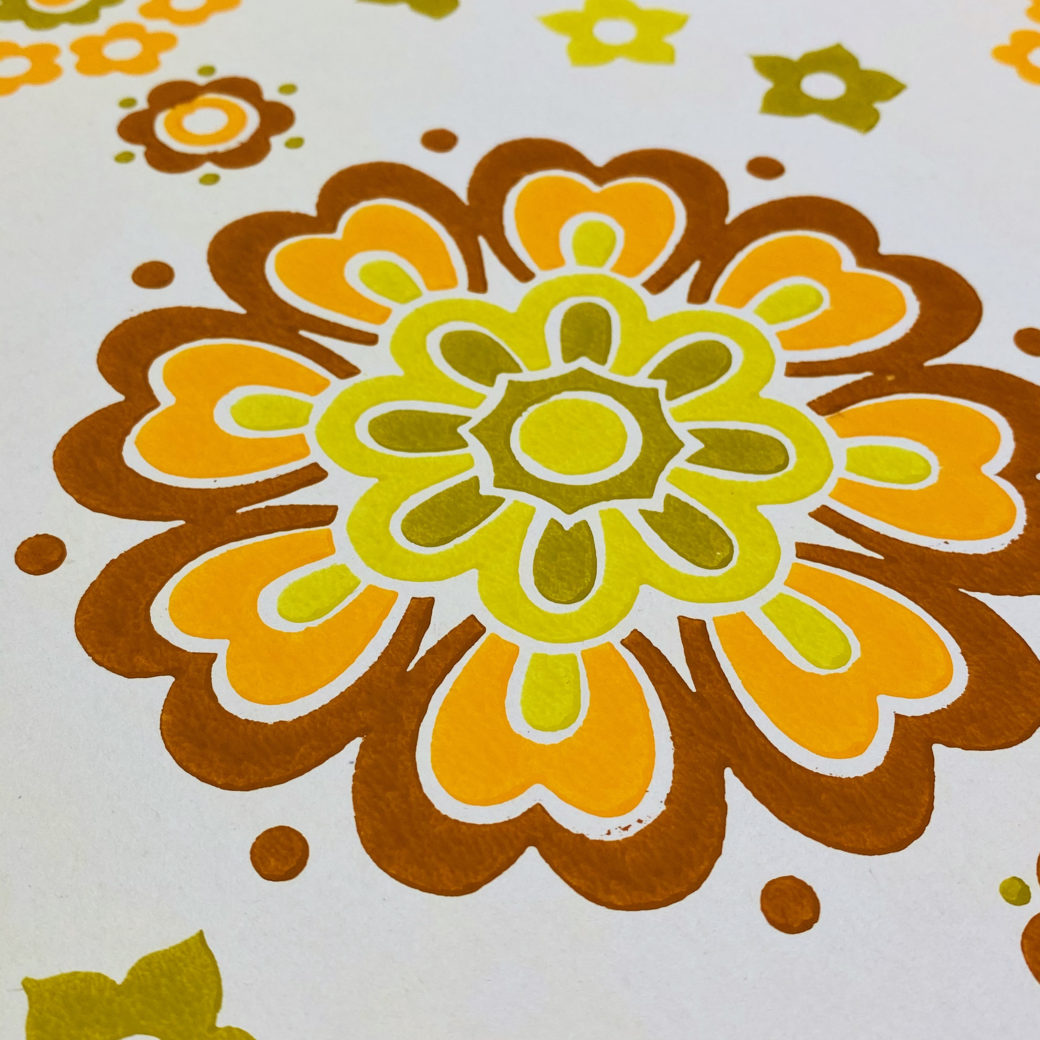 1970s Funky Retro Floral Wallpaper 8