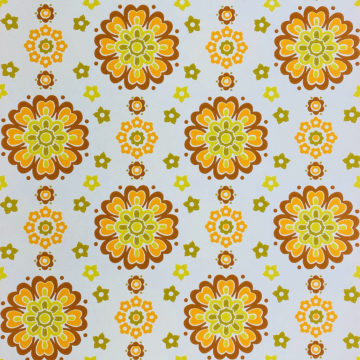 1970s Funky Retro Floral Wallpaper