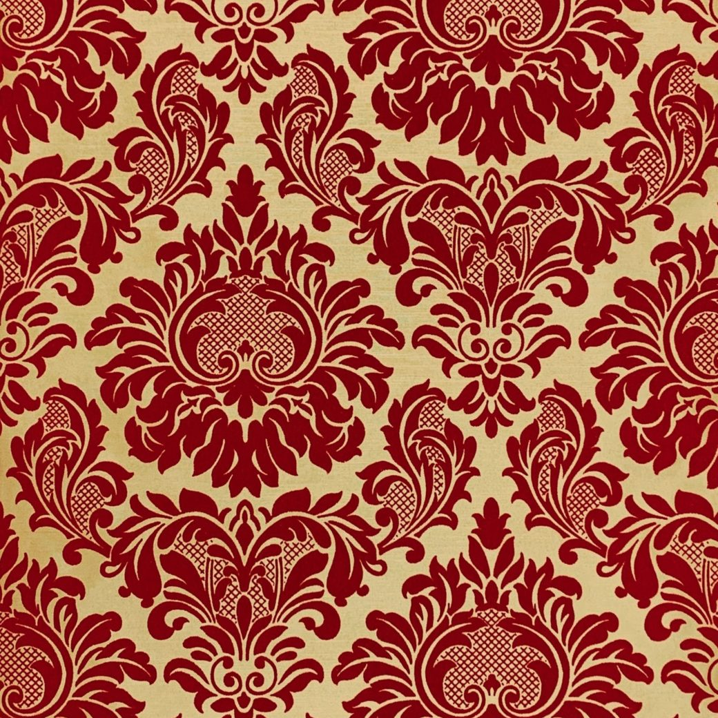 Red flock velvet wallpaper