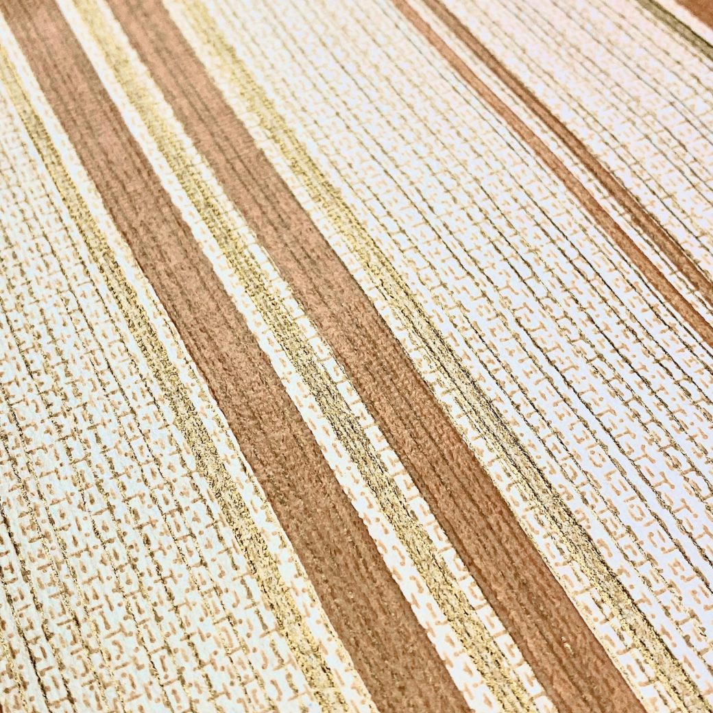 1970s Striped Wallpaper Brown and Gold 6