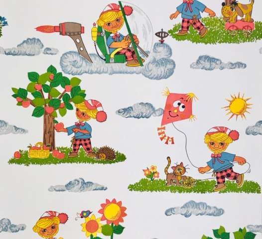 1970s vintage childrens wallpaper
