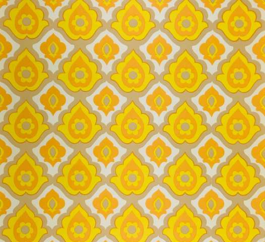 1970s vintage yellow geometric wallpaper