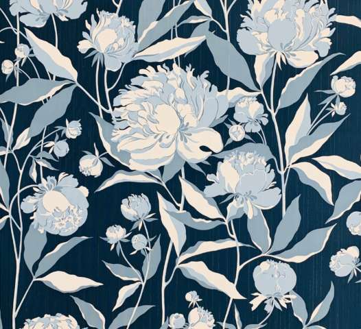 1980s Blue Floral Wallpaper