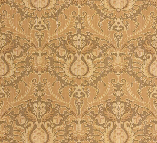 1980s Brown Baroque Vinyl Wallpaper