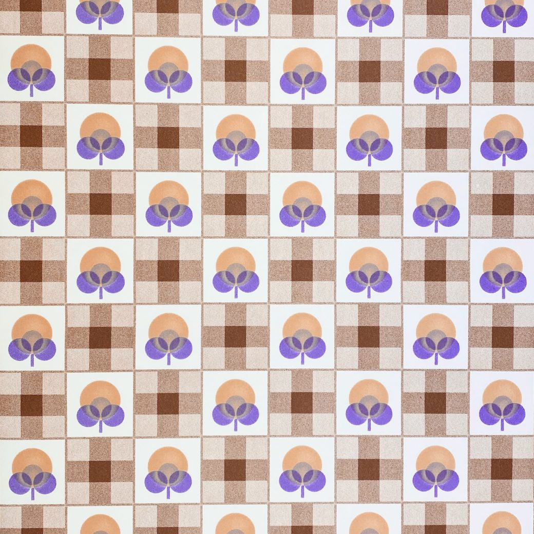 Abstract Floral Wallpaper With Cheques Pattern 1