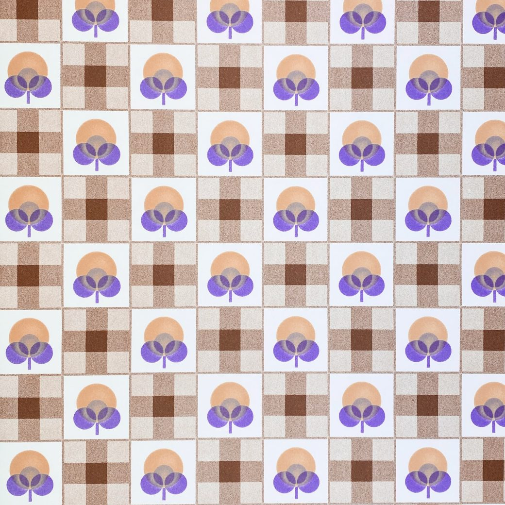 Abstract Floral Wallpaper With Cheques Pattern 2