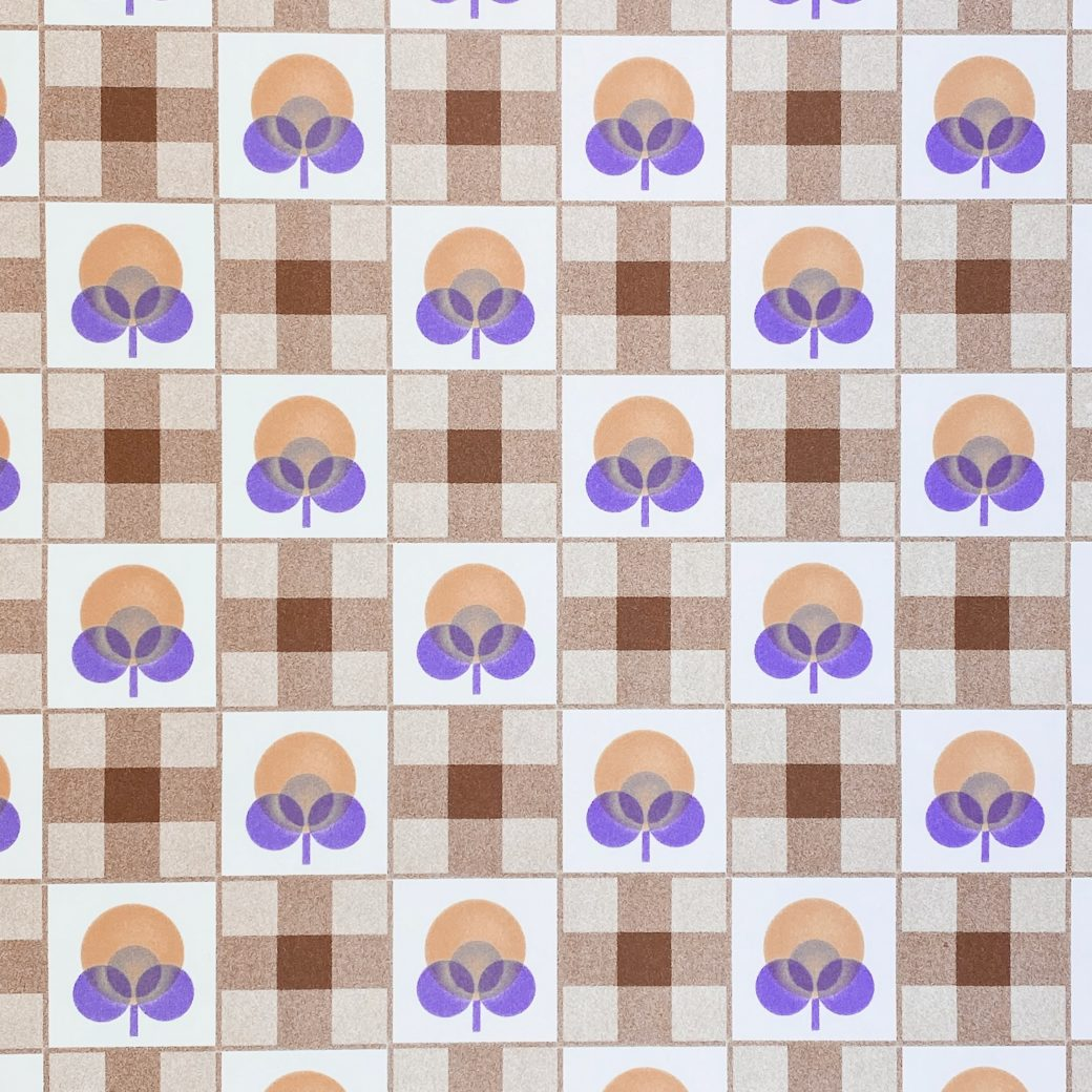 Abstract Floral Wallpaper With Cheques Pattern 4