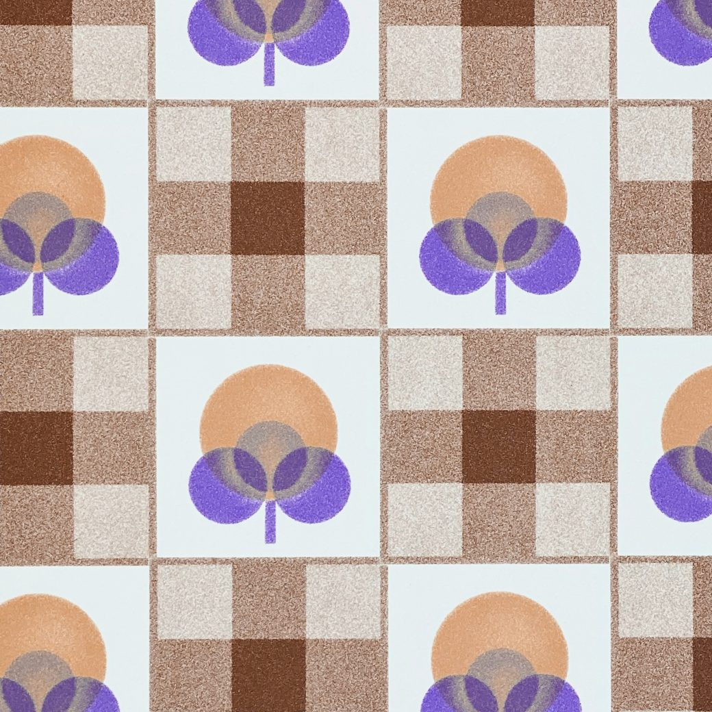 Abstract Floral Wallpaper With Cheques Pattern 8
