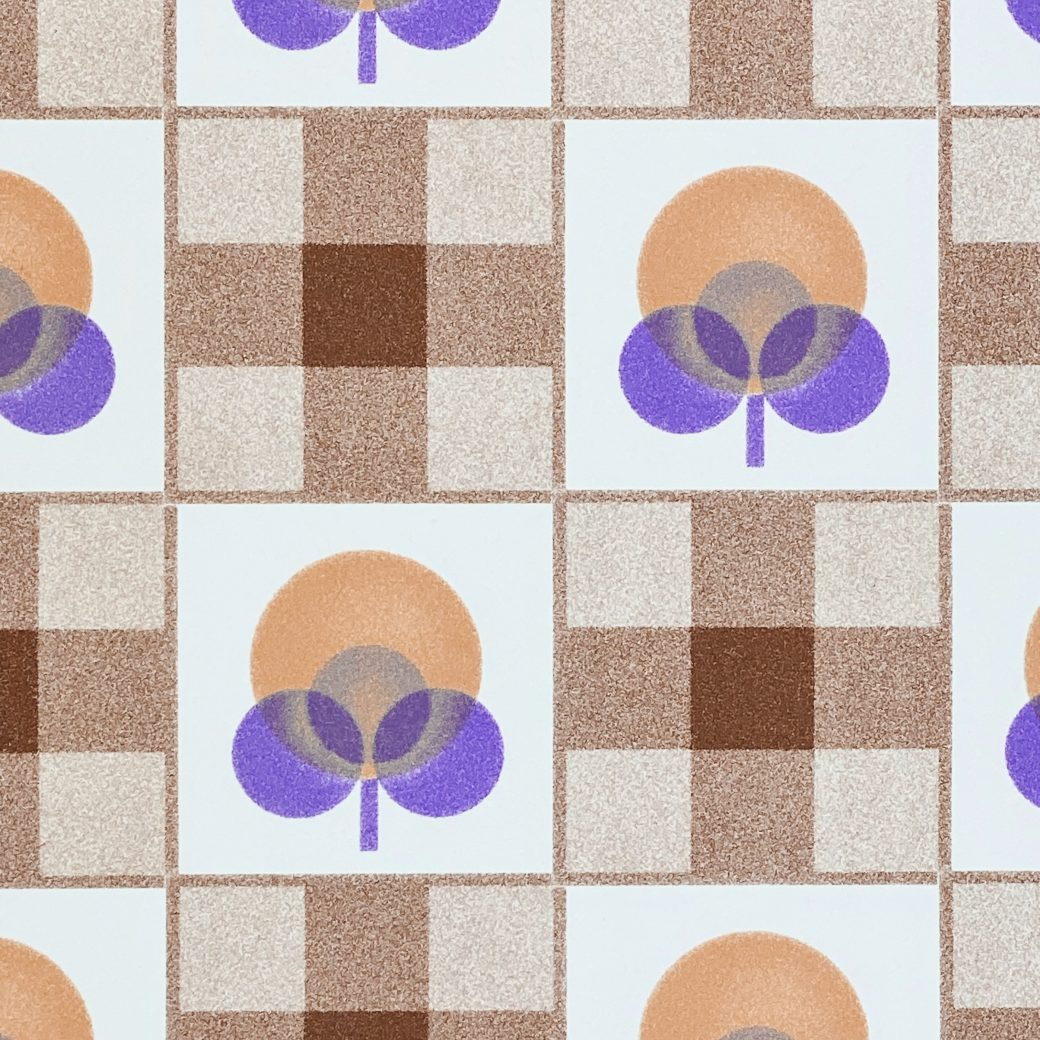 Abstract Floral Wallpaper With Cheques Pattern 9