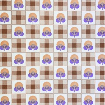 Abstract Floral Wallpaper With Cheques Pattern 3