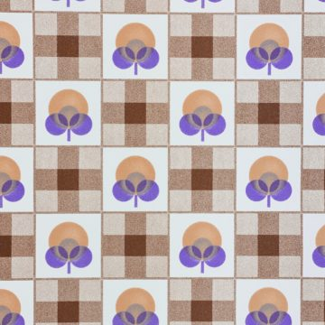 Abstract Floral Wallpaper With Cheques Pattern 6