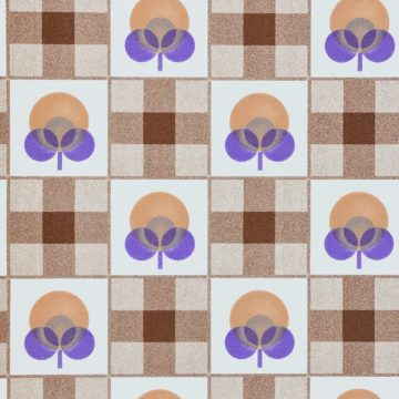 Abstract Floral Wallpaper With Cheques Pattern 7