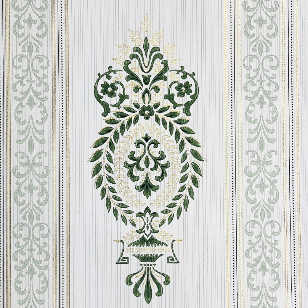 Baroque Wallpaper Green and Gold 3