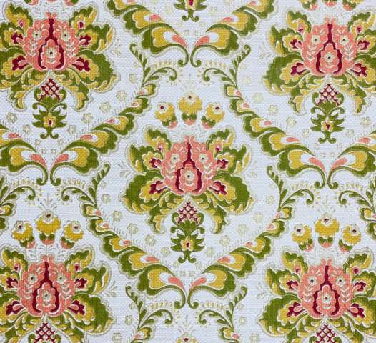 Baroque Wallpaper Green and Orange