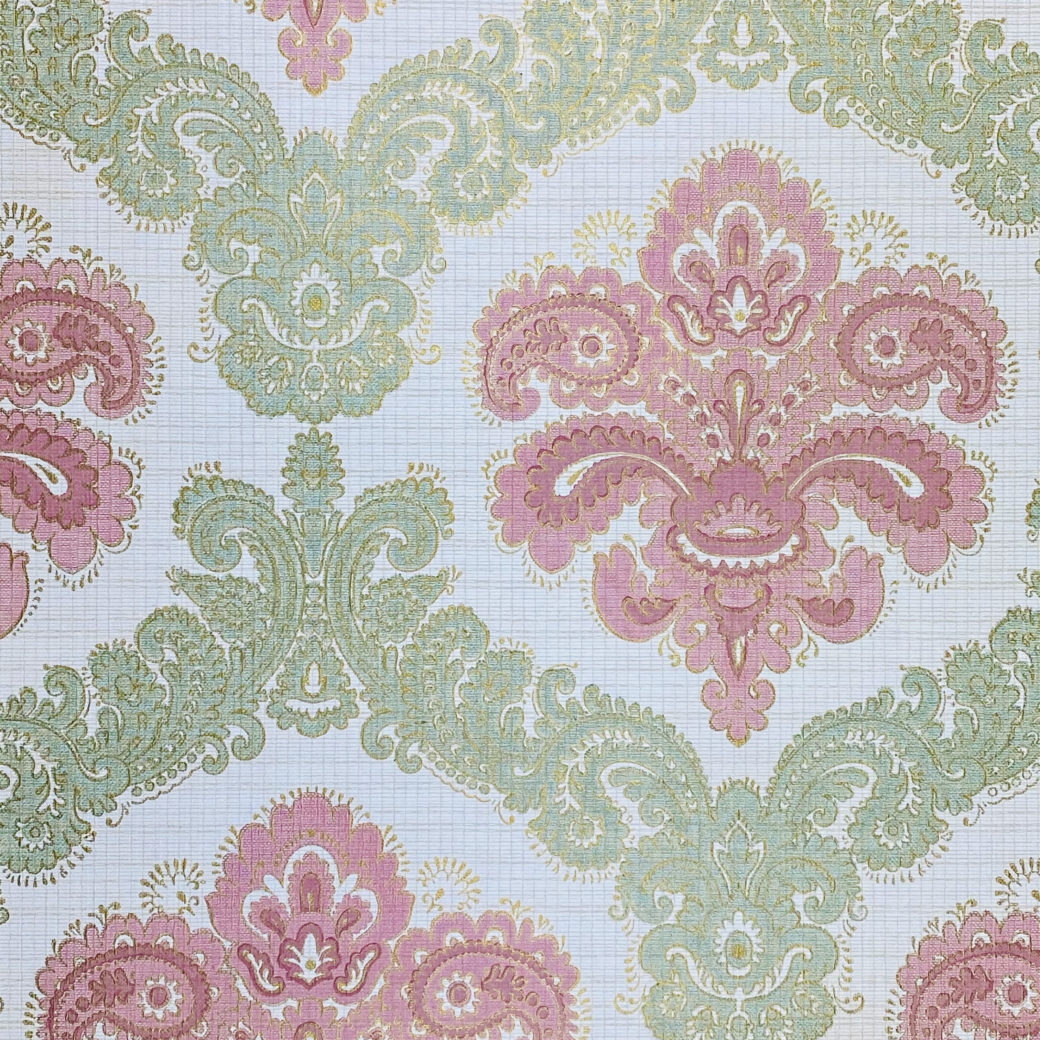 Baroque Wallpaper Green and Pink 2