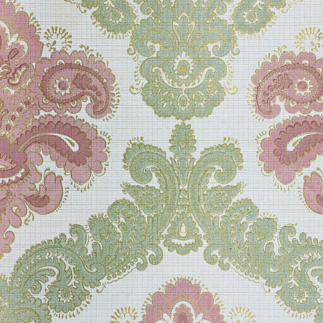 Baroque Wallpaper Green and Pink 5