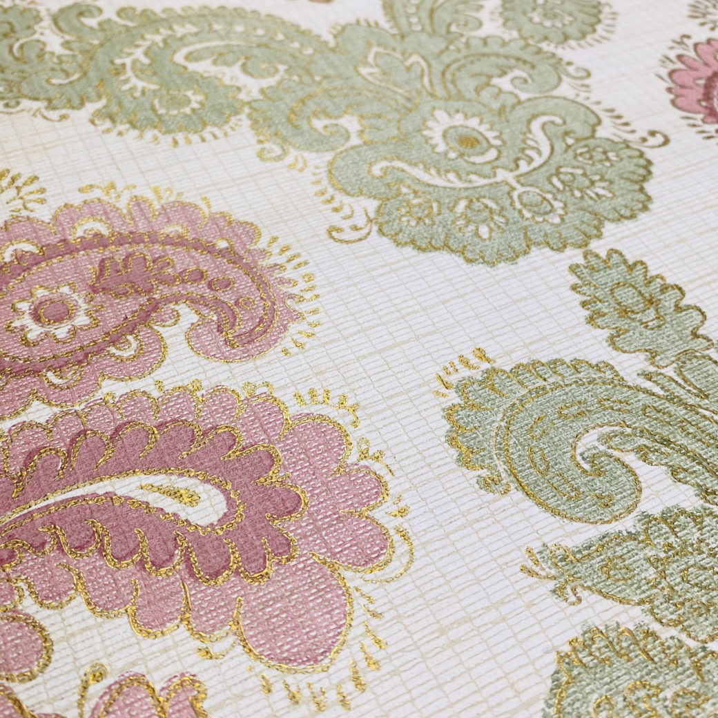 Baroque Wallpaper Green and Pink 6