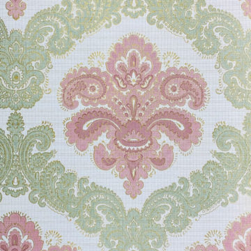 Baroque Wallpaper Green and Pink 3