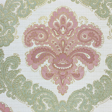 Baroque Wallpaper Green and Pink 4