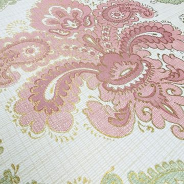 Baroque Wallpaper Green and Pink 7