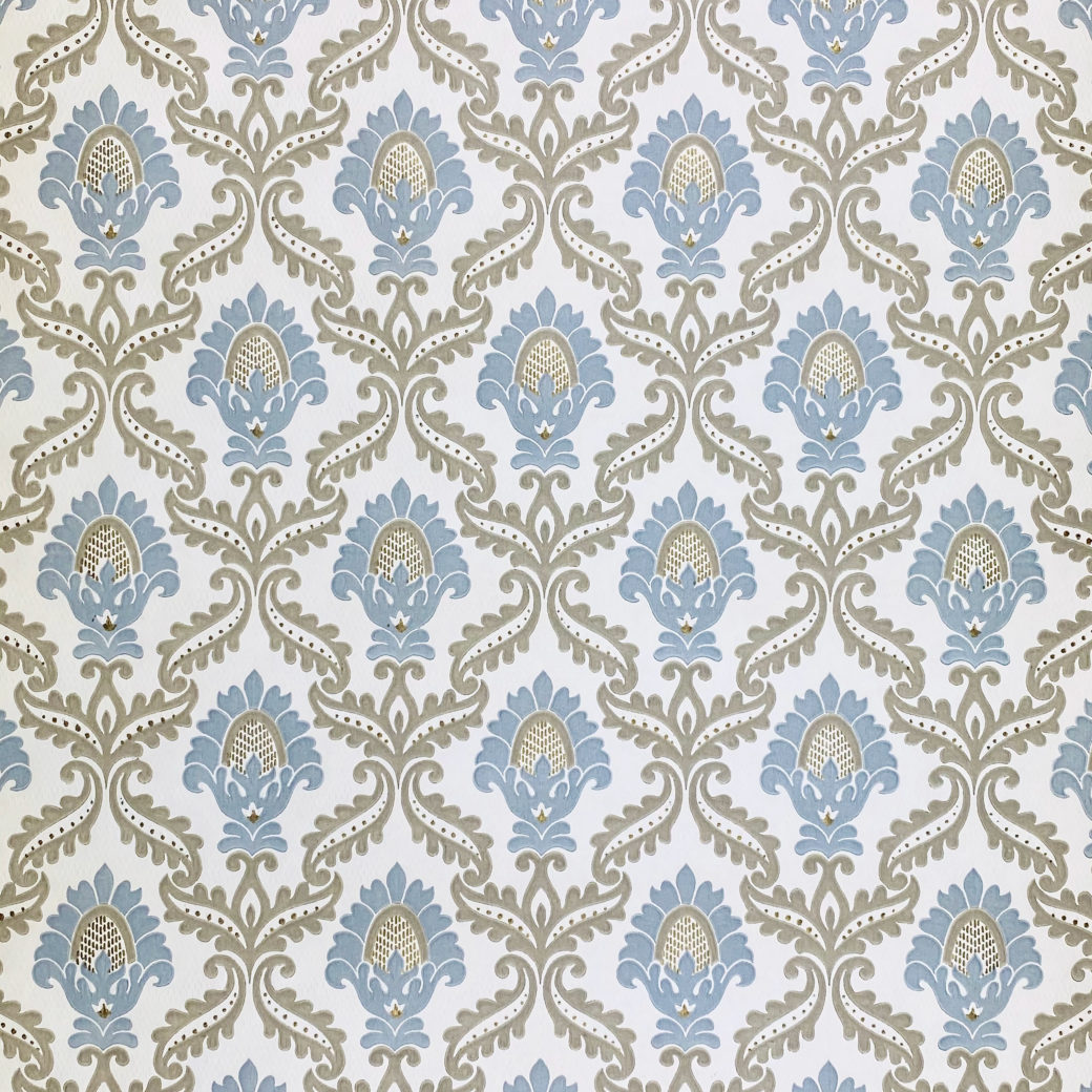 Blue and Grey Baroque Wallpaper 1