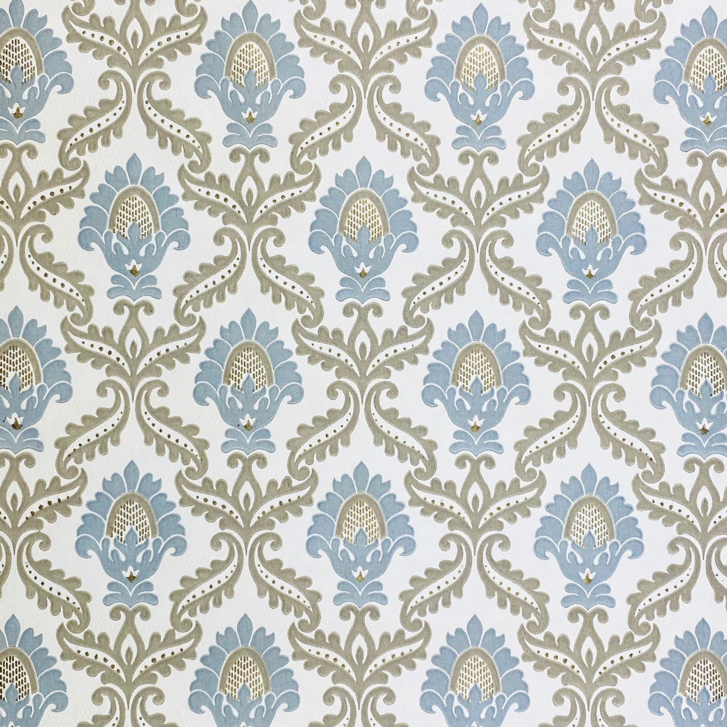 Blue and Grey Baroque Wallpaper 2