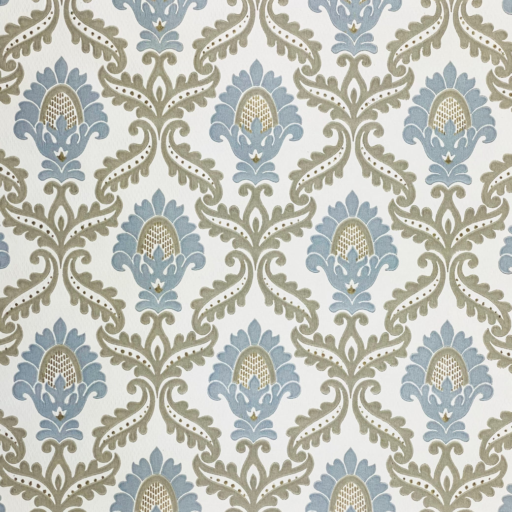 Blue and Grey Baroque Wallpaper 3