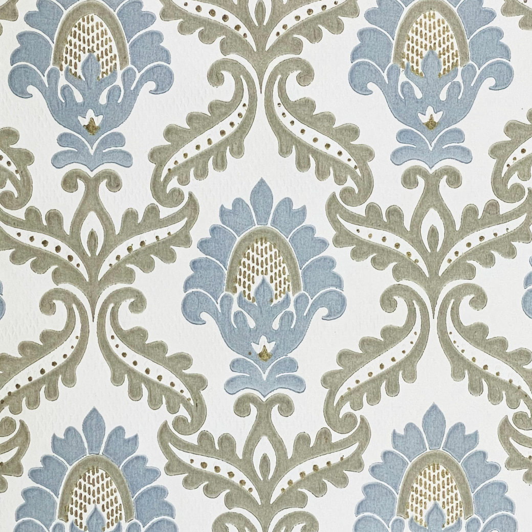 Blue and Grey Baroque Wallpaper 5