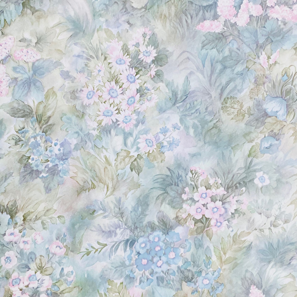 Blue and Pink Floral Wallpaper 1