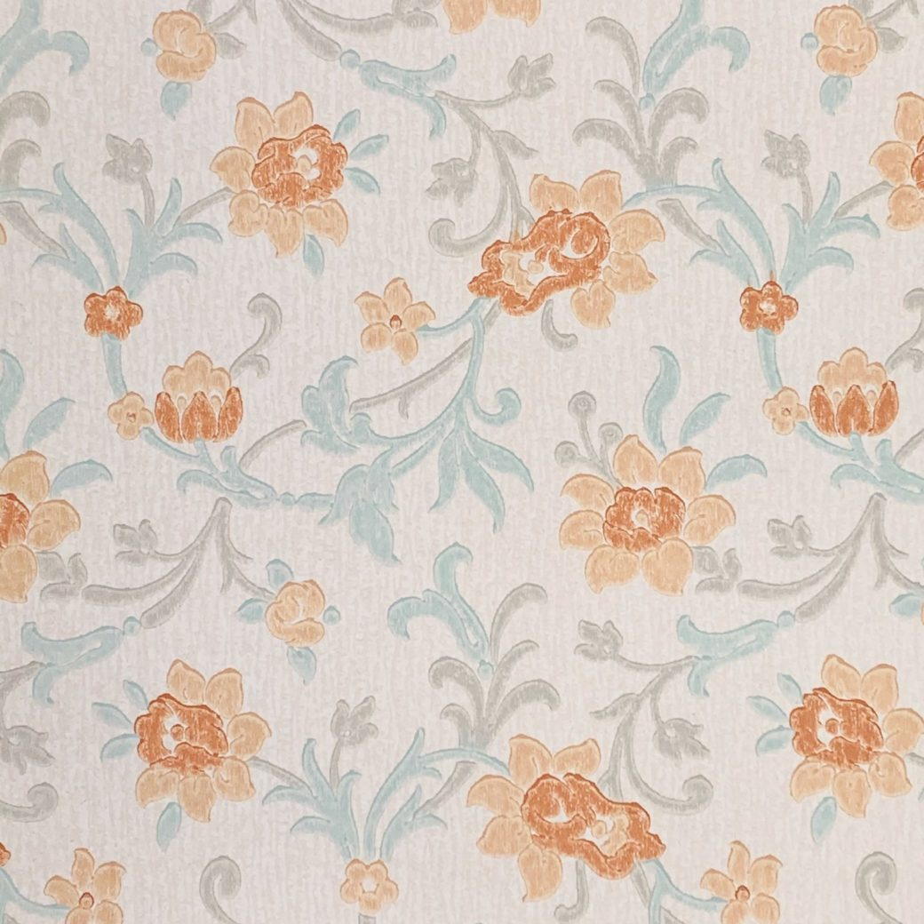 Vintage blue floral wallpaper 2 1