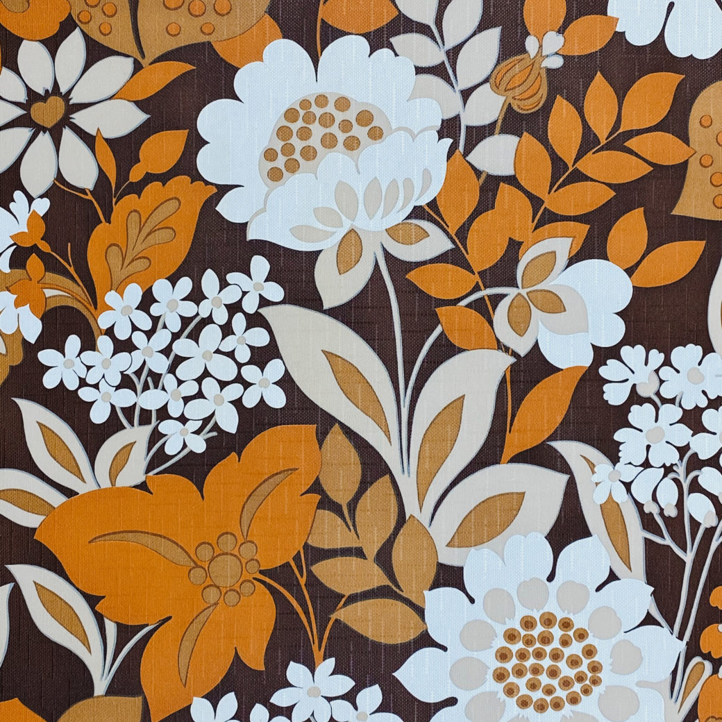 Brown and Orange Floral Wallpaper 3