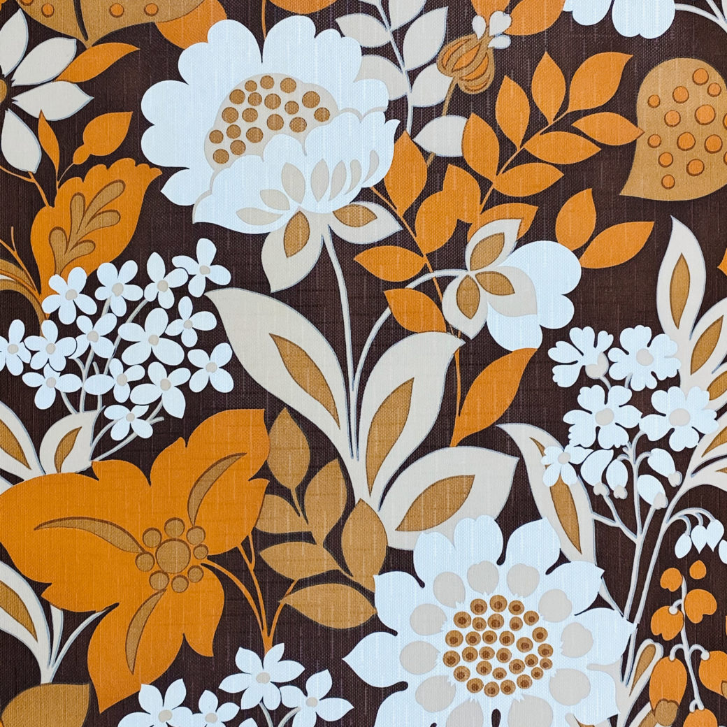 Brown and Orange Floral Wallpaper 4