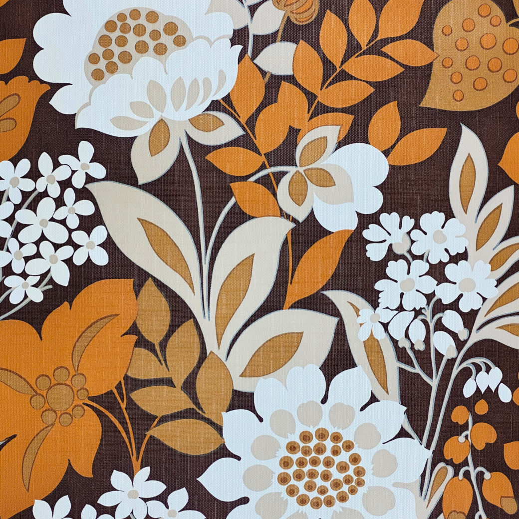 Brown and Orange Floral Wallpaper 5