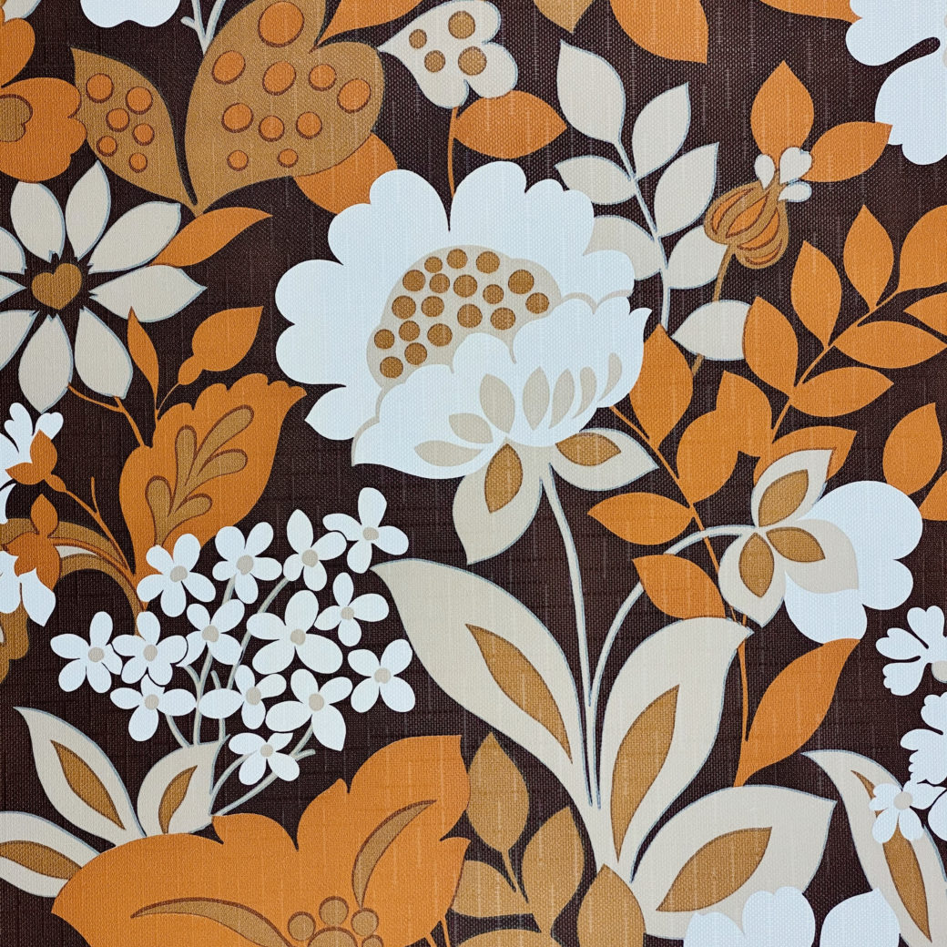 Brown and Orange Floral Wallpaper 7