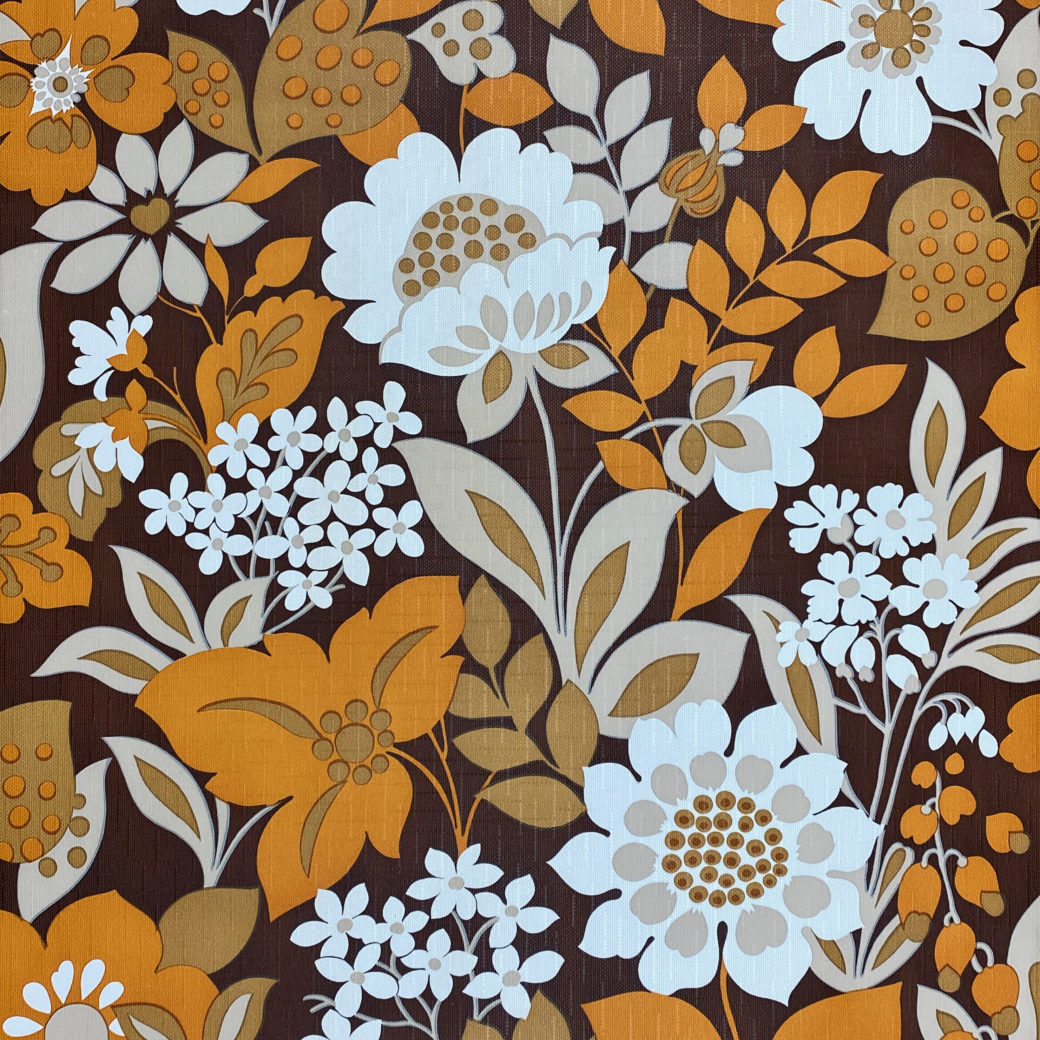 Brown and Orange Floral Wallpaper