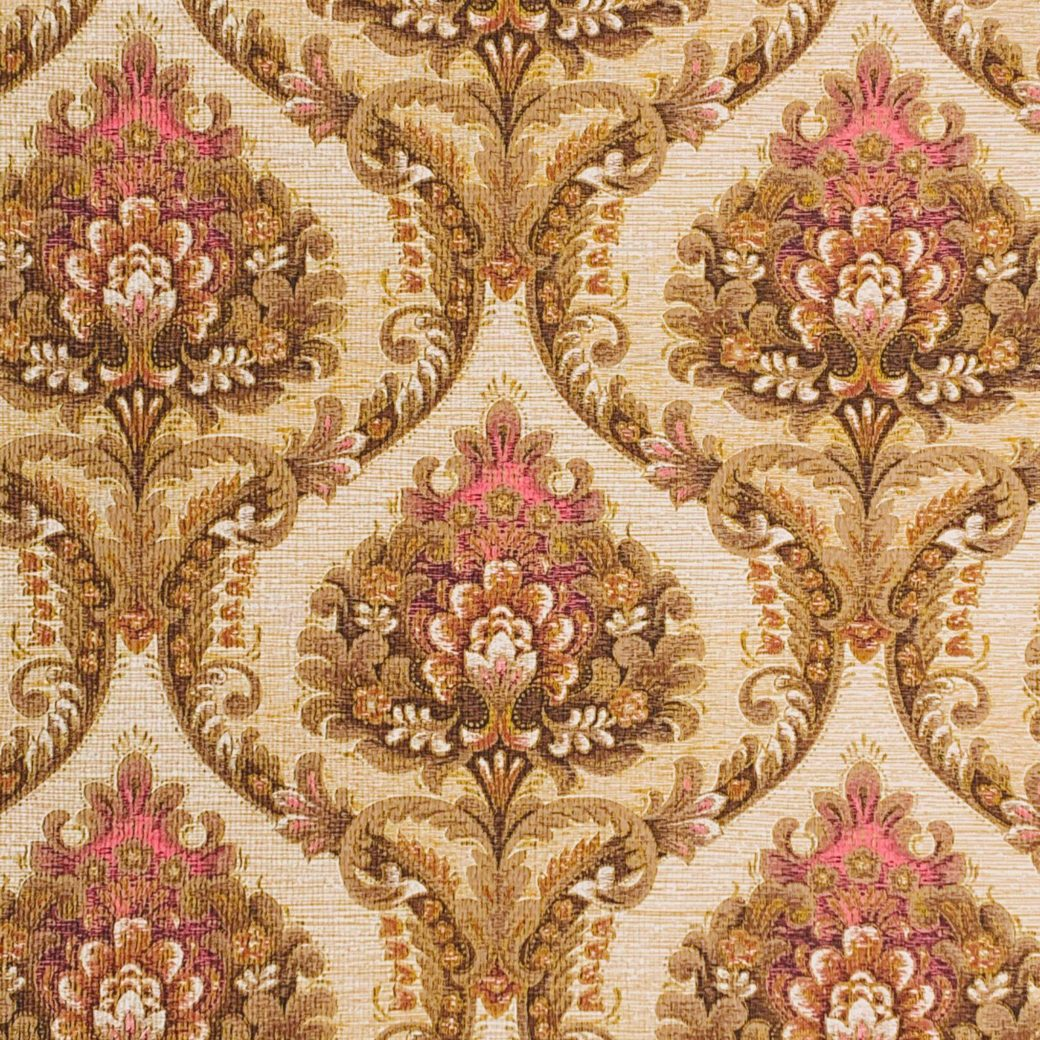 Brown and pink baroque wallpaper