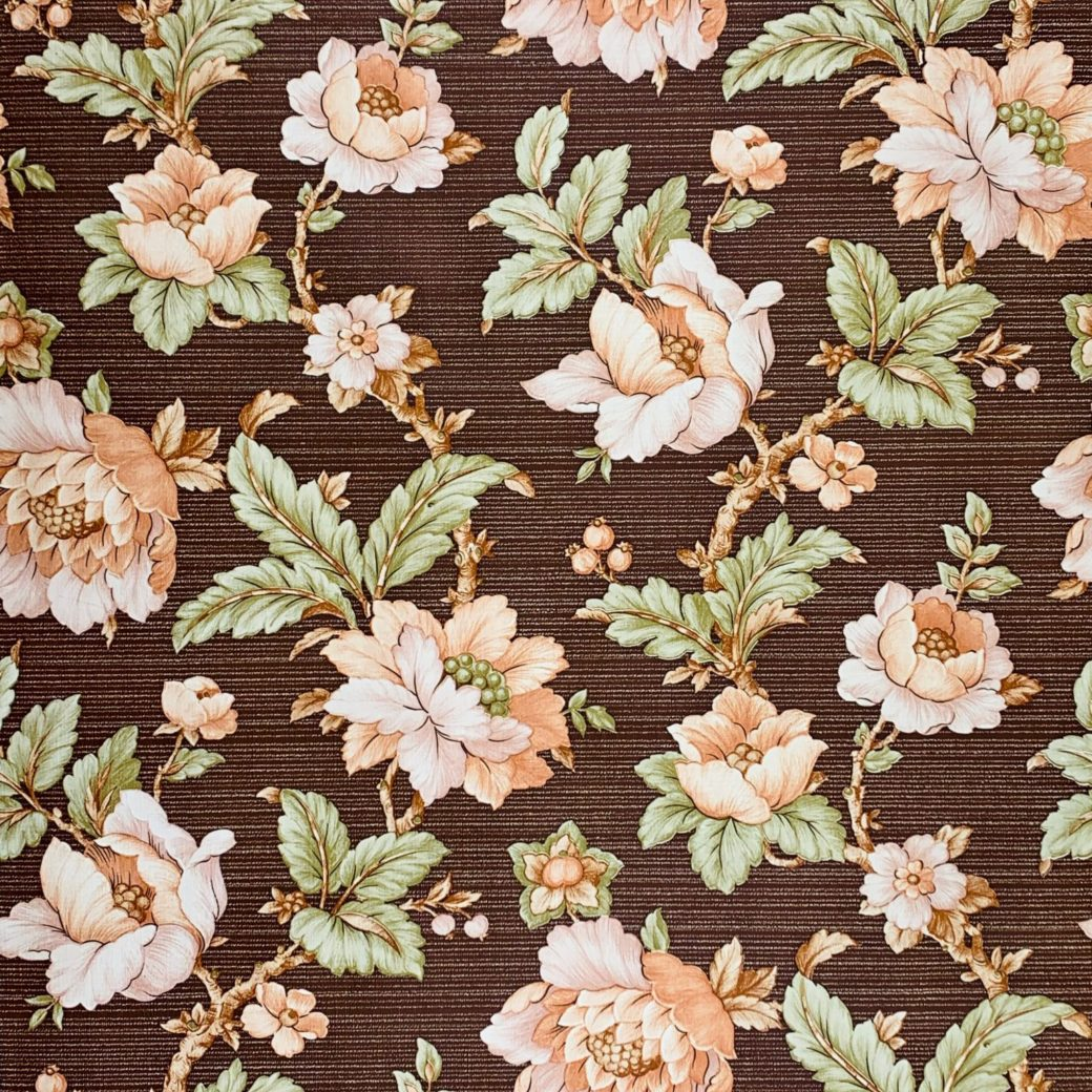 Brown floral wallpaper