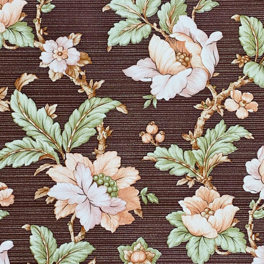 Brown floral wallpaper 1