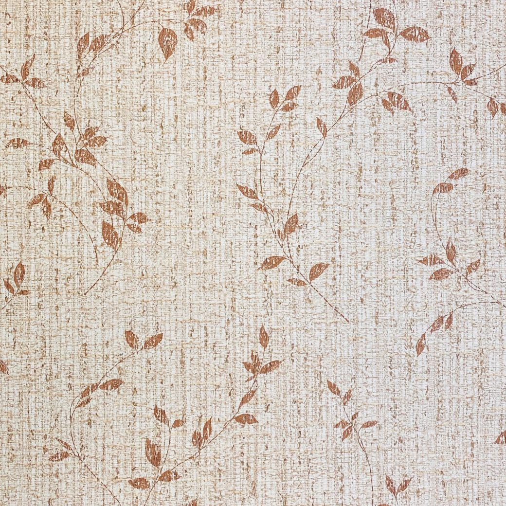 Brown Floral Wallpaper With Leaf Pattern 1