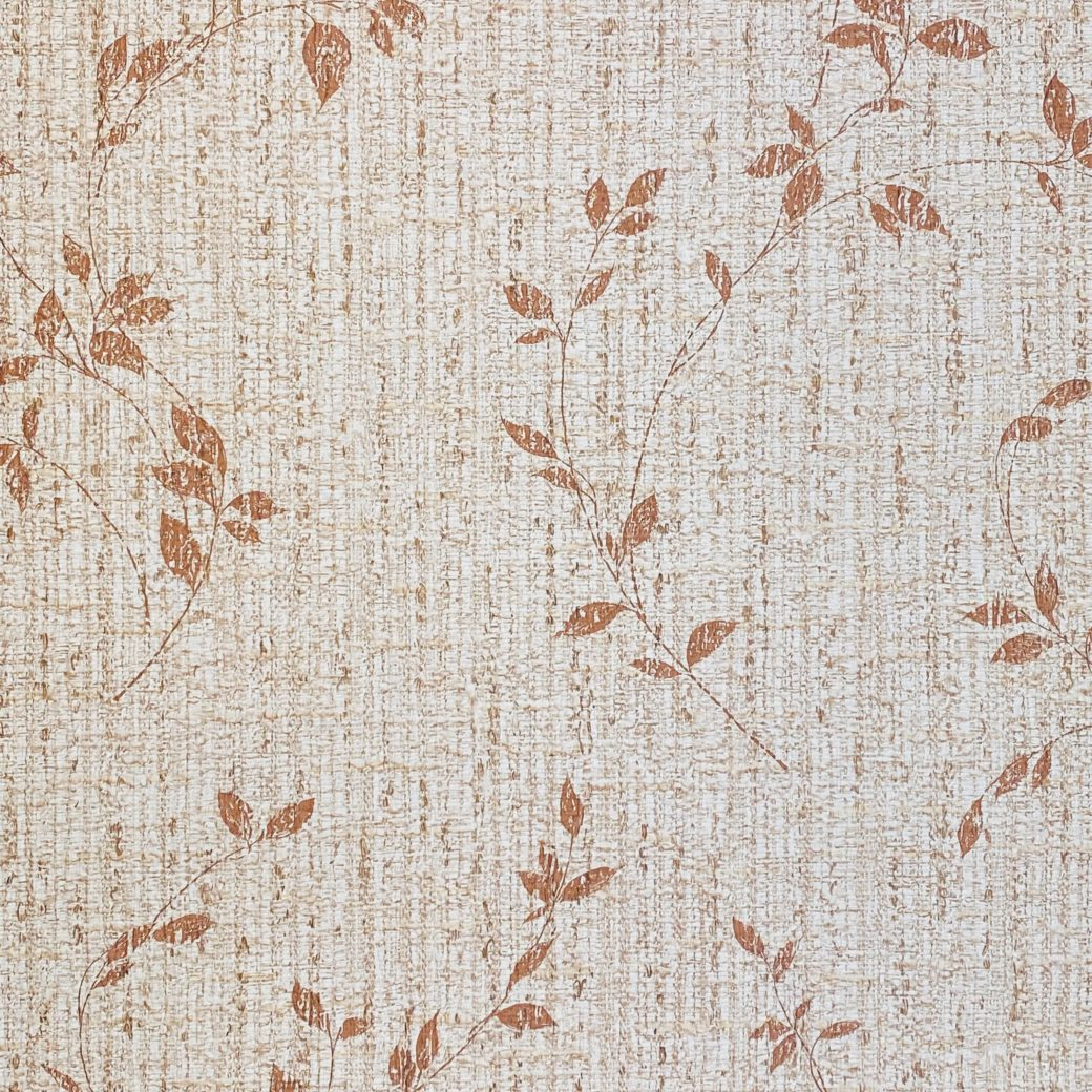 Brown Floral Wallpaper With Leaf Pattern 3