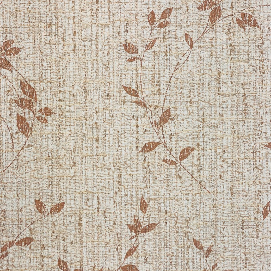 Brown Floral Wallpaper With Leaf Pattern 4