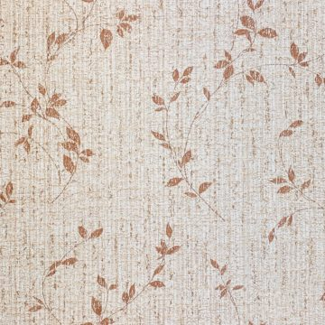 Brown Floral Wallpaper With Leaf Pattern 2