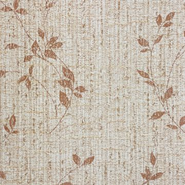 Brown Floral Wallpaper With Leaf Pattern 5