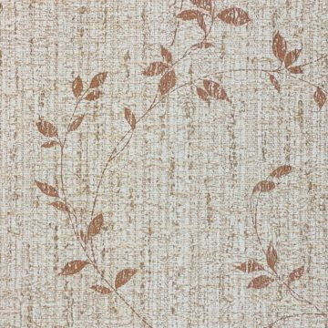 Brown Floral Wallpaper With Leaf Pattern 6