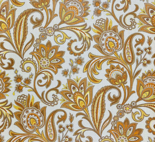 Brown Orange Yellow Floral Wallpaper