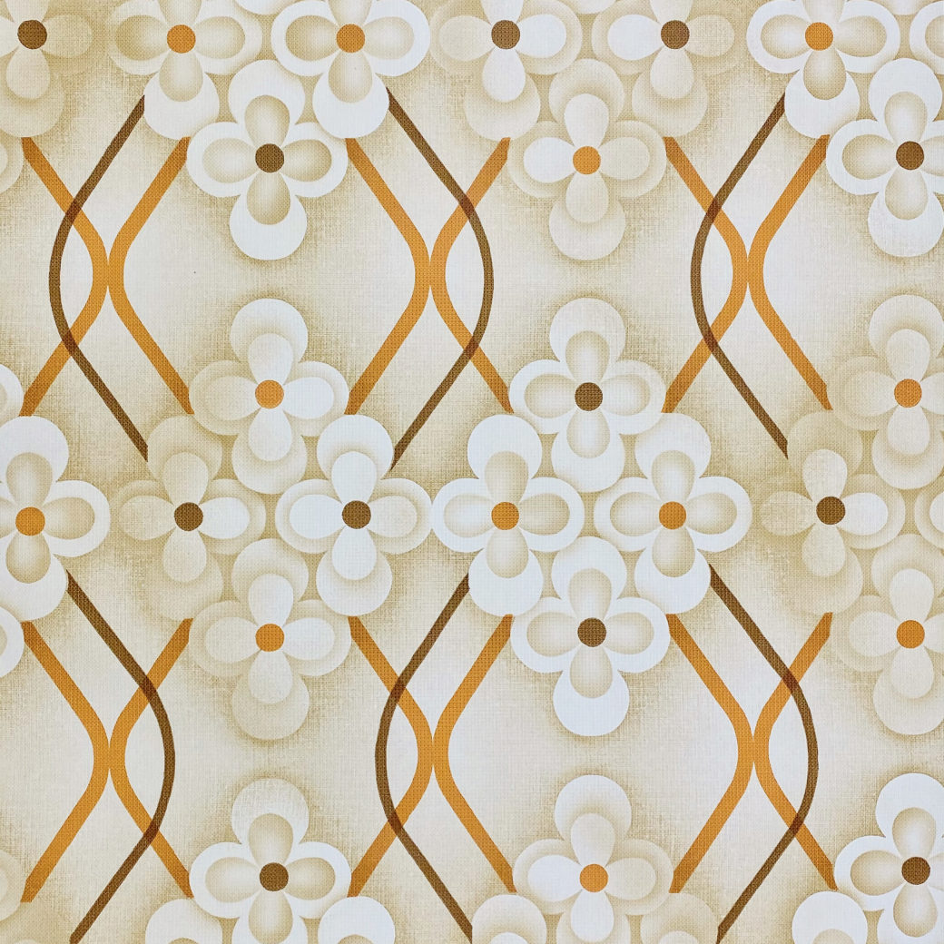 Brown Retro Geometric Flower Wallpaper 1