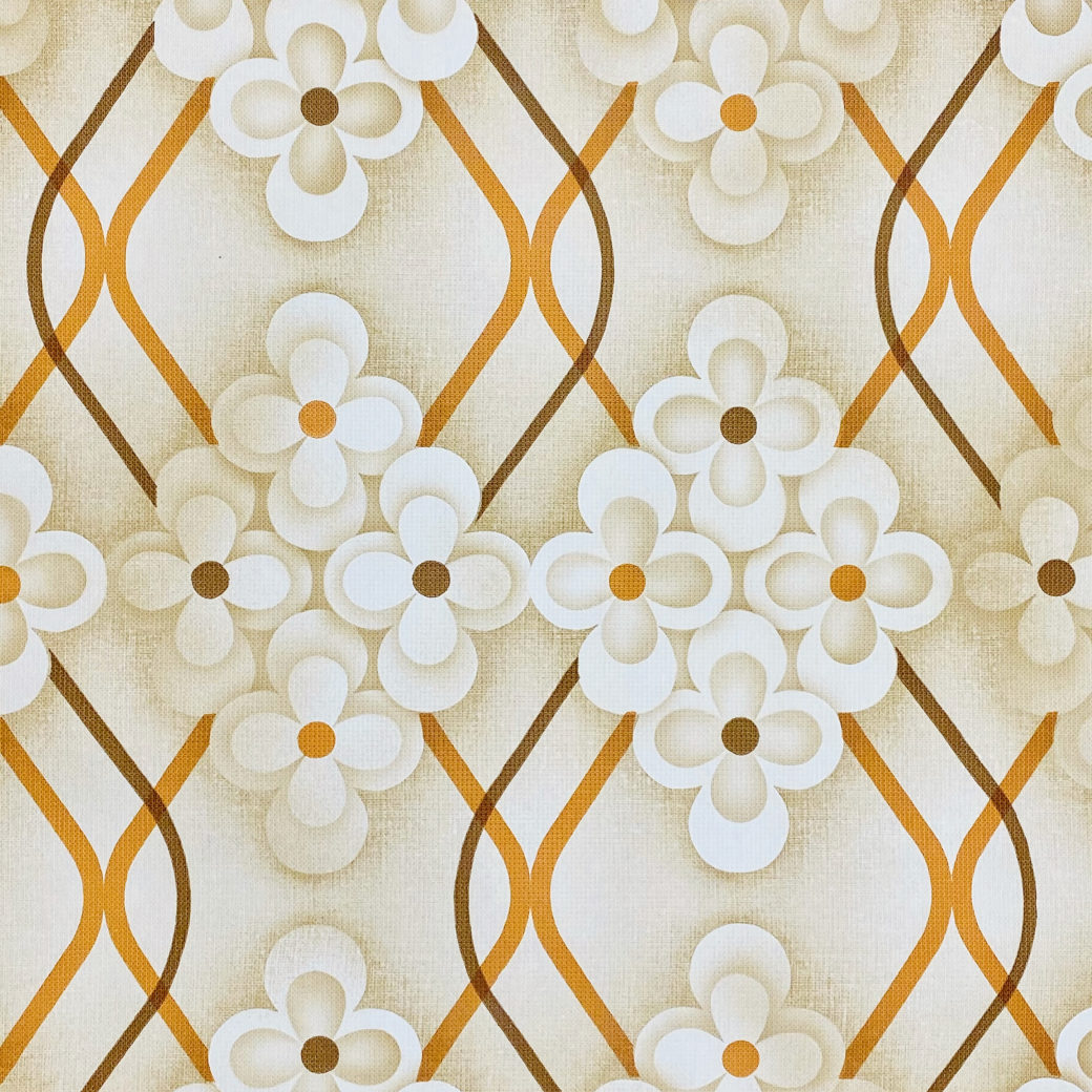 Brown Retro Geometric Flower Wallpaper 2