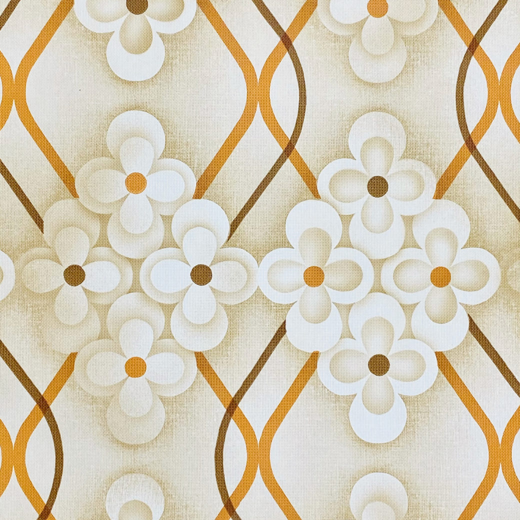 Brown Retro Geometric Flower Wallpaper 3