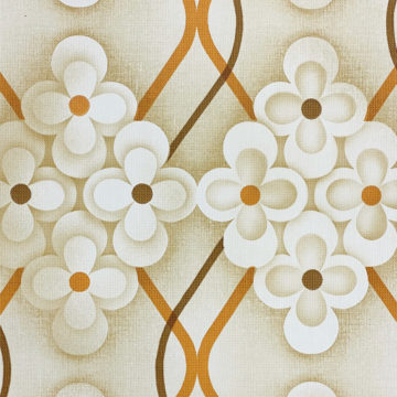 Brown Retro Geometric Flower Wallpaper 4
