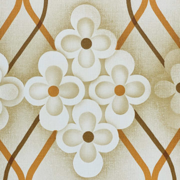 Brown Retro Geometric Flower Wallpaper 6